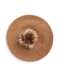 Collection 18 Faux Fur Pom Beret Brown