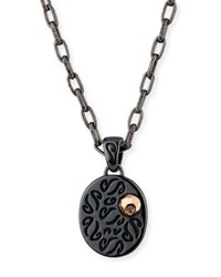 Marco Ta Moko Ara Burnished Silver Pendant Necklace With 18K Rose Gold And Champagne Diamond