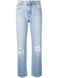 Msgm Ripped Straight Leg Jeans Blue