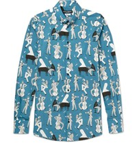 Dolce And Gabbana Slim Fit Button Down Collar Printed Cotton Poplin Shirt Blue
