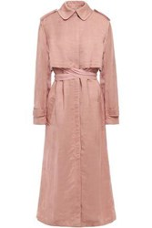 Esteban Cortazar Woman Paneled Ribbed Jersey And Twill Trench Coat Antique Rose