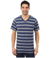 Tommy Bahama Heather Cotton Modal Feeder Stripe V Neck Tee Navy Blue Stripe Men's T Shirt
