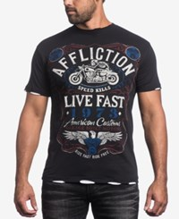Affliction Men's Fire Water Graphic Print T Shirt Black