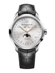 Baume And Mercier Clifton Automatic Moon Phase Stainless Steel And Alligator Strap Watch Silver Black