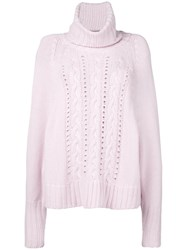 Ermanno Scervino Turtle Neck Knitted Jumper Cashmere Pink Purple