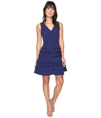 Adelyn Rae Carol Woven Lace Fringe Fit And Flare Dress Navy Women's Dress