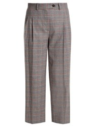 Stella Jean Prince Of Wales Checked Mid Rise Cropped Trousers Grey