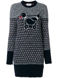 Thom Browne Pullover Dress With Duck Toy Icon In Mohair Tweed Blue