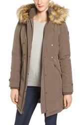 Vince Camuto Women's Faux Fur Trim Down And Feather Fill Parka