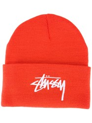 Stussy Logo Folded Beanie Yellow Orange
