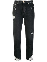 Don't Cry Distressed Cropped Jeans Black