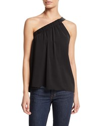Ramy Brook Arielle Gathered One Shoulder Top With Leather Strap Black