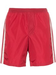 Gucci Monogram Stripe Swim Shorts Red