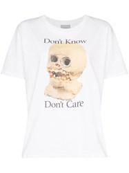 Ashley Williams Don't Know Don't Care Print T Shirt White