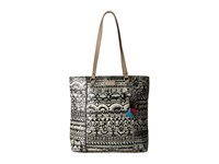 Sakroots Artist Circle North South Shopper Black White One World Handbags Beige