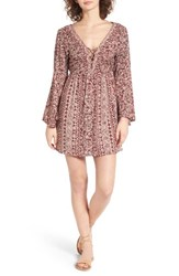 Angie Women's Lace Up Bell Sleeve Dress Burgundy