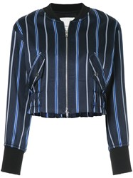 3.1 Phillip Lim Zipped Striped Bomber Jacket Blue