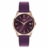 Henry London Unisex Hampstead Rose Gold Case Watch Rose Gold Pink Purple
