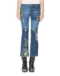 Alexander Mcqueen Floral Embroidered Kick Crop Jeans Light Blue