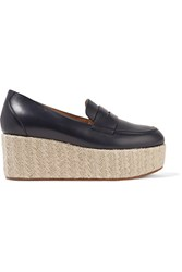 Gabriela Hearst Brucco Leather Platform Loafers Navy