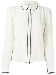 Red Valentino Contrasting Piped Trim Shirt Nude And Neutrals