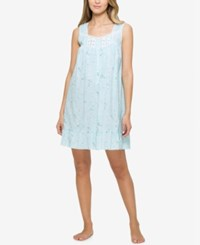 Eileen West Lace Trimmed Printed Nightgown Aqua Multi