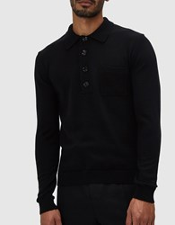 Cmmn Swdn Curtis Polo Sweater In Black