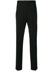 Versace Vintage Pinstripe Tailored Trousers Black