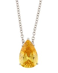 Fantasia Pear Cut Canary Cz Pedant Necklace Yellow