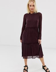 Minimum Moves By Sheer Midi Dress Brown