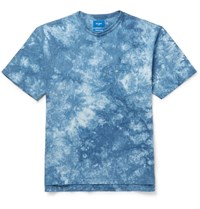 Beams Tie Dyed Cotton Jersey T Shirt Blue