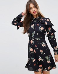 Asos Tea Dress With Ruffle Sleeve In Vintage Floral Multi