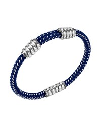 John Hardy Bedeg Nylon And Silver Station Cord Bracelet Blue