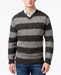 Weatherproof Striped Cable Knit V Neck Sweater Charcoal
