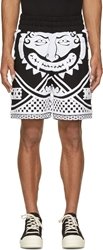 Ktz Black And White Embroidered Terrycloth Greek Motif Shorts