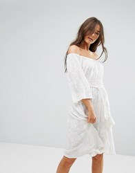 Traffic People 3 4 Sleeve Belted Lace Dress White