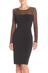 Women's London Times Shutter Pleat Sheath Dress With Mesh Yoke