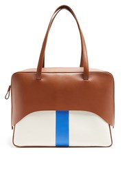 Tibi Papa Leather And Canvas Tote Tan Multi