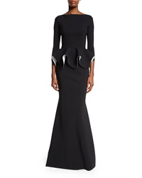 La Petite Robe Di Chiara Boni Eden Bicolor Peplum Mermaid Gown Black White