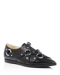 Moschino Pointed Toe Buckle Strap Loafers Black Silver