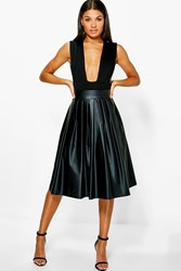 Boohoo Tia Bow Detail Leather Look Midi Skirt Black