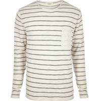 River Island Mens Ecru Stripe Crew Neck Long Sleeve T Shirt Beige