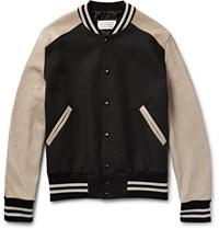 Maison Martin Margiela Leather And Twill Bomber Jacket Beige