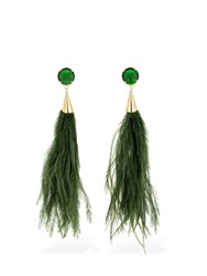 Rosantica Rivoluzione Feathers And Crystal Earrings Green