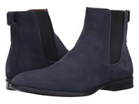 Aquatalia By Marvin K Adrian Navy Dress Suede Men's Pull On Boots Blue