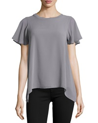 Design History Chiffon Flutter Sleeve Tee Industrial Gray