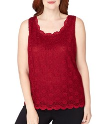 Tahari By Arthur S. Levine Knit Lace Sleeveless Top Wine