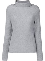 Jo No Fui Tubular Neck Sweater Polyester Cashmere Wool M Grey