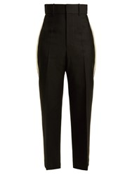 Helmut Lang Silk Trimmed Crepe Trousers Black