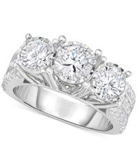 Trumiracle Diamond Three Stone Engagement Ring 3 Ct. T.W. In 14K White Gold